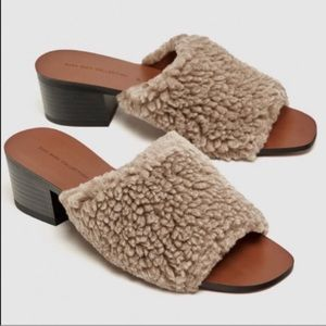 Zara furry slide sandal